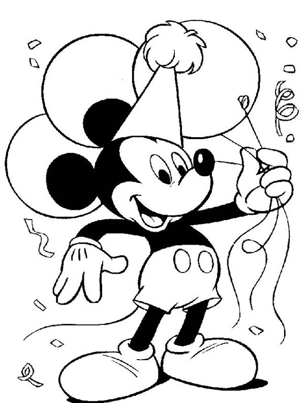 Mickey Mouse Clubhouse, : Mickey on His Birthday Party in Mickey Mouse Clubhouse Coloring Page