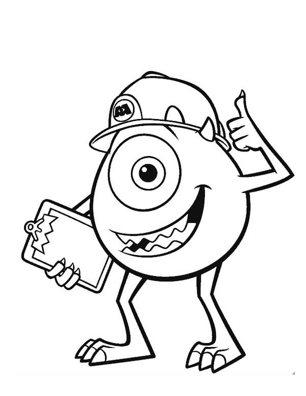 Monsters Inc, : Mike and His Working Helmet in Monsters Inc Coloring Page