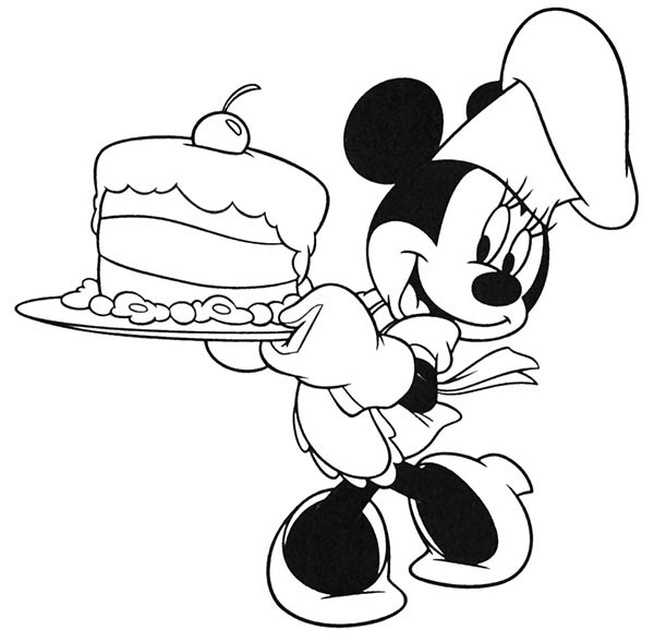 Mickey Mouse Clubhouse, : Minnie Serving a Birthday Cake in Mickey Mouse Clubhouse Coloring Page