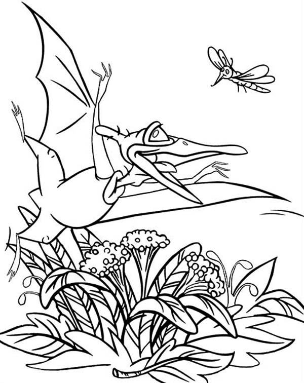 Land Before Time, : Mosquito and Petrie Land Before Time Family Coloring Page