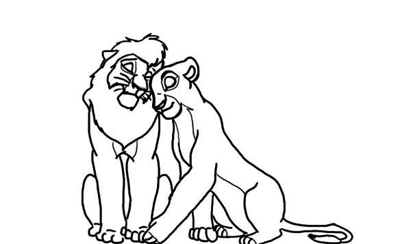 Lion King, : Mufasa Holds Nala The Lion King Coloring Page
