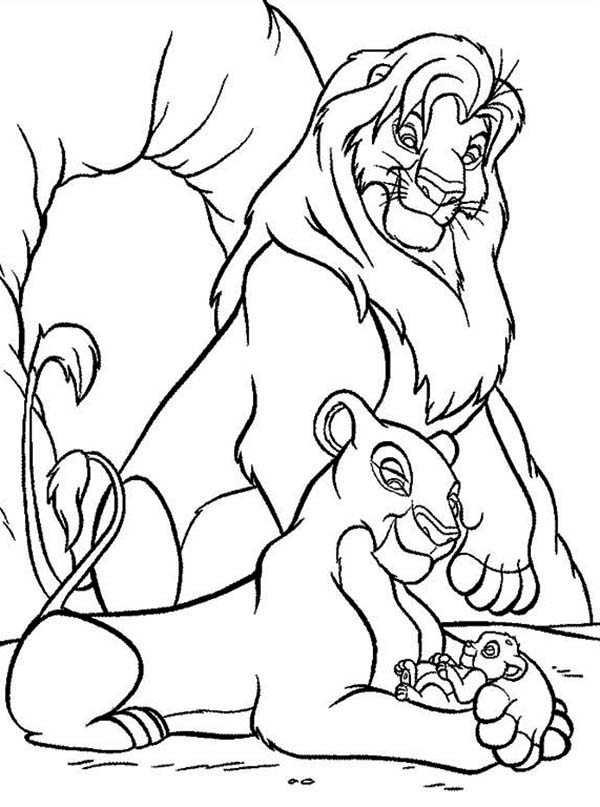 Lion King, : Mufasa, Nala and Simba in Front of The Cave The Lion King Coloring Page