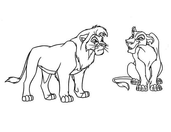 Lion King, : Mufasa and Scar has Conflict The Lion King Coloring Page