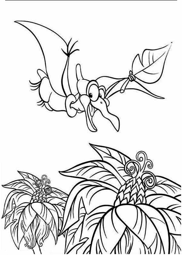 Land Before Time, : Petrie Flying Find Fruit Land Before Time Family Coloring Page