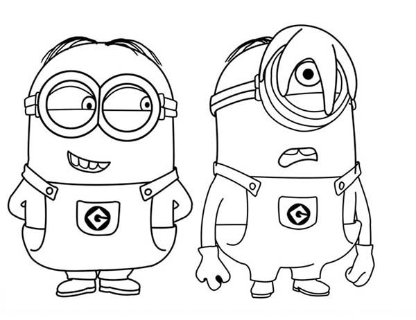 Minion, : Phil and Stuart The Minion Coloring Page