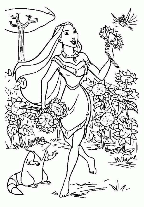 Pocahontas, : Pocahontas, Flit  and Meeko Play in the Garden Coloring Page