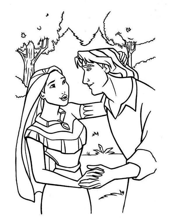 Pocahontas, : Pocahontas and John Smith Holding Hand Coloring Page