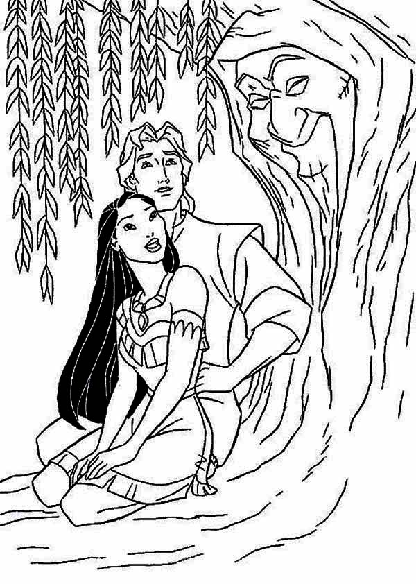 Pocahontas And John Smith And Mother Willow Coloring Page