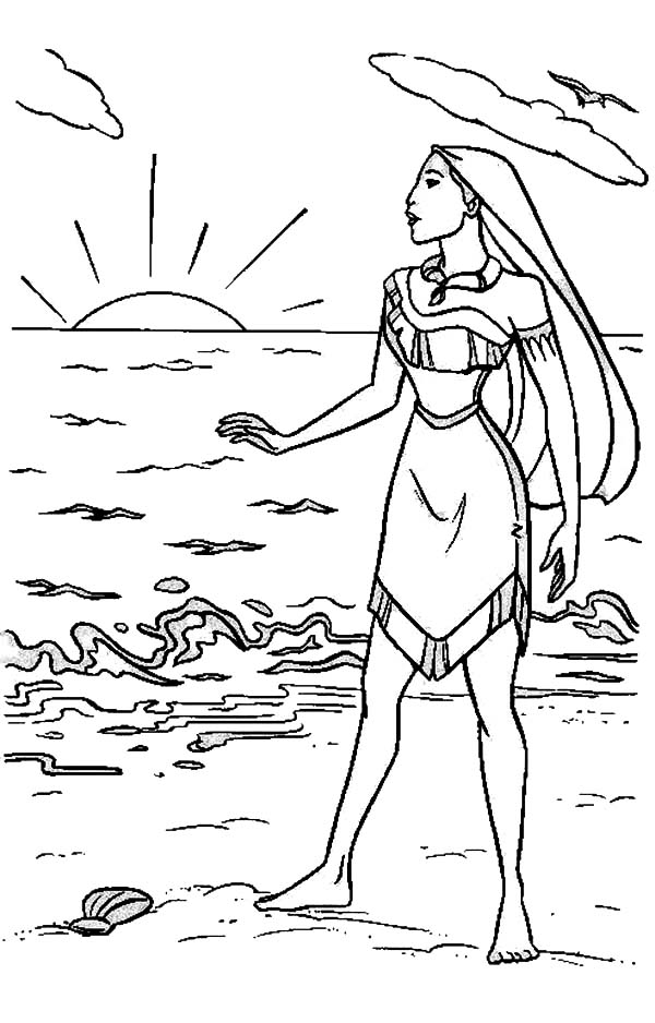 Pocahontas, : Pocahontas at the Beach Coloring Page