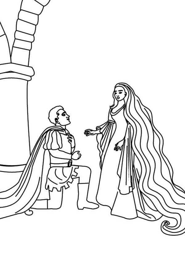 Rapunzel, : Prince Bend to Rapunzel Coloring Page