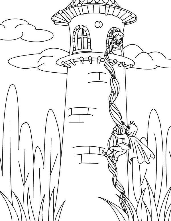 Rapunzel, : Prince Climb Tower Using Rapunzel Hair Coloring Page
