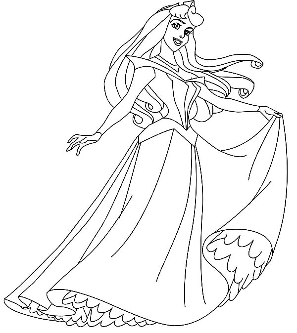 Disney Princesses, : Princess Aurora with Her New Dress on Disney Princesses Coloring Page