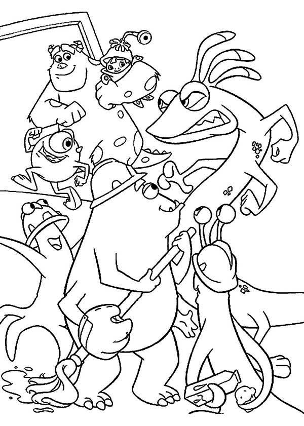 Monsters Inc, : Randal Boggs Try to Catch Sulley and the Rest in Monsters Inc Coloring Page