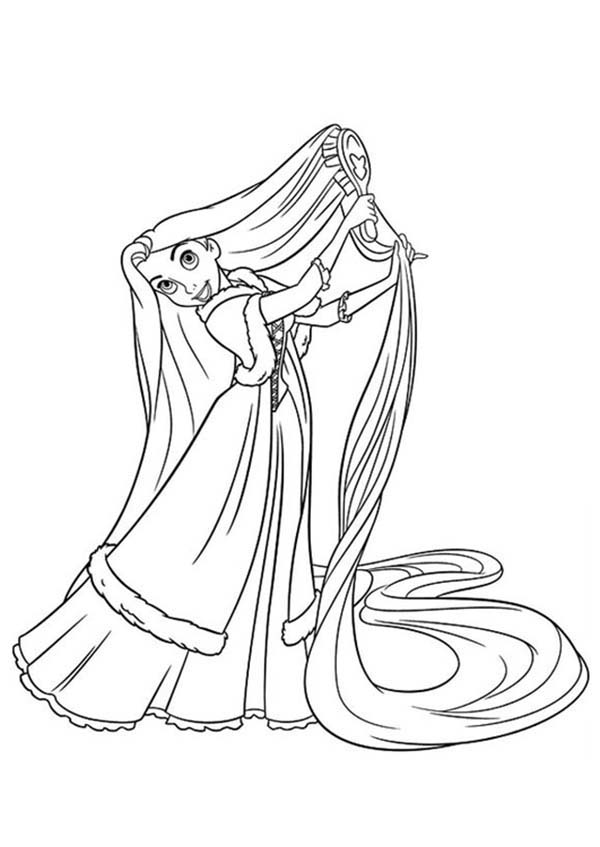 Rapunzel, : Rapunzel Comb Her Hair Coloring Page