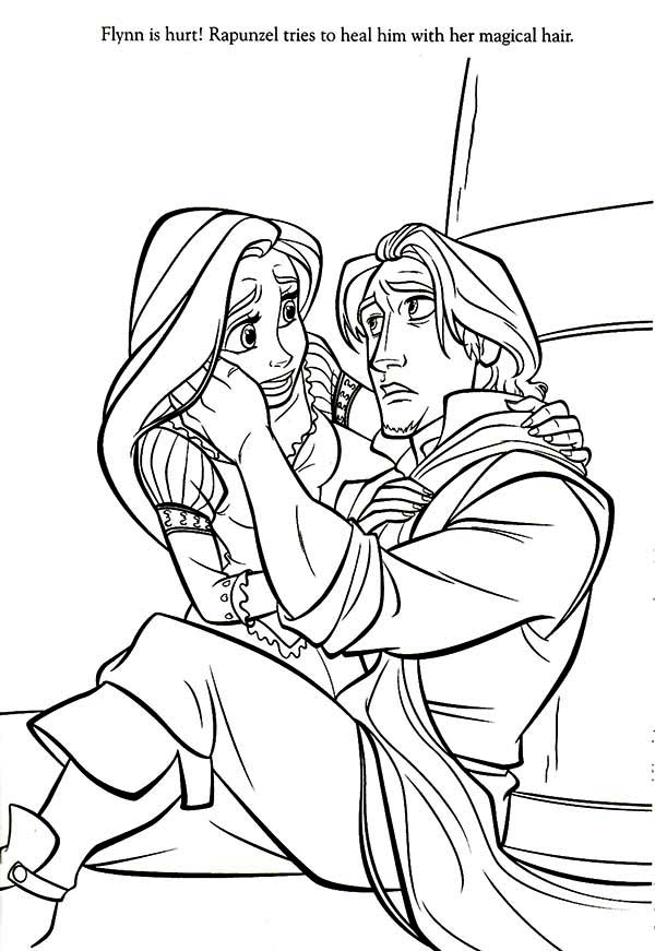 Rapunzel, : Rapunzel Heal Flynn with Her Hair Coloring Page