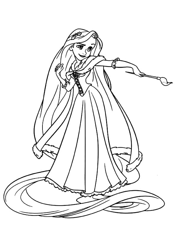 Rapunzel, : Rapunzel Like to Paint Coloring Page
