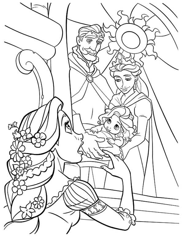 Rapunzel, : Rapunzel Looking at Her as a Baby Coloring Page