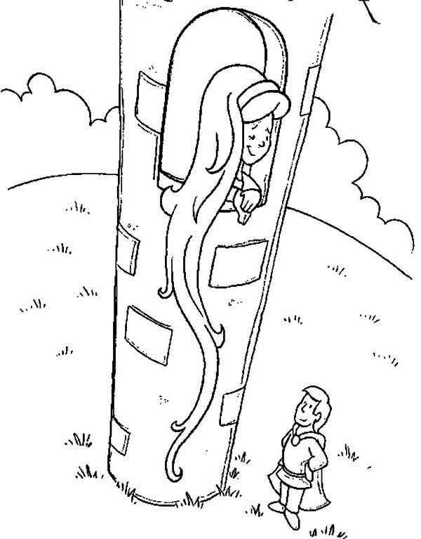 Rapunzel, : Rapunzel Offering Her Hair to Flynn Coloring Page