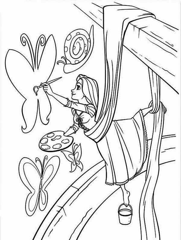 Rapunzel, : Rapunzel Painting Coloring Page
