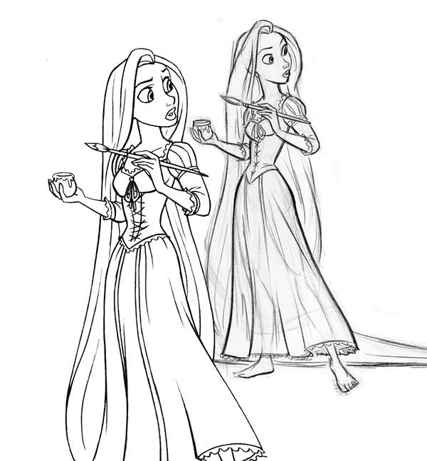 Rapunzel, : Rapunzel Start to Paint Coloring Page