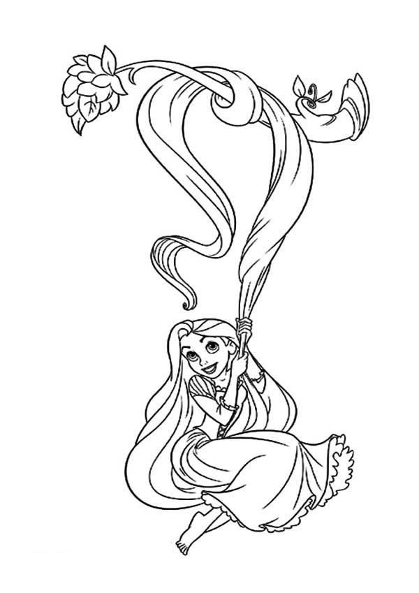 Rapunzel, : Rapunzel Swing with Her Hair Coloring Page