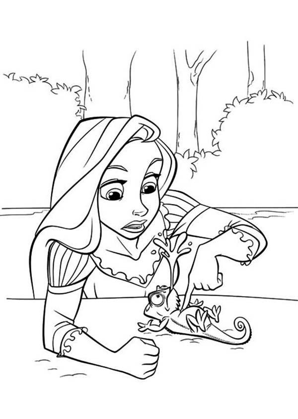 Rapunzel, : Rapunzel Tickling Pascal Coloring Page