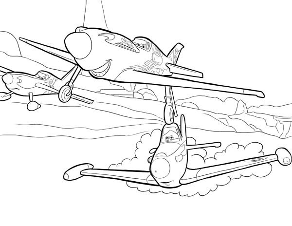 Disney Planes, : Ripslinger Surpass Dusty on the Race in Disney Planes Coloring Page