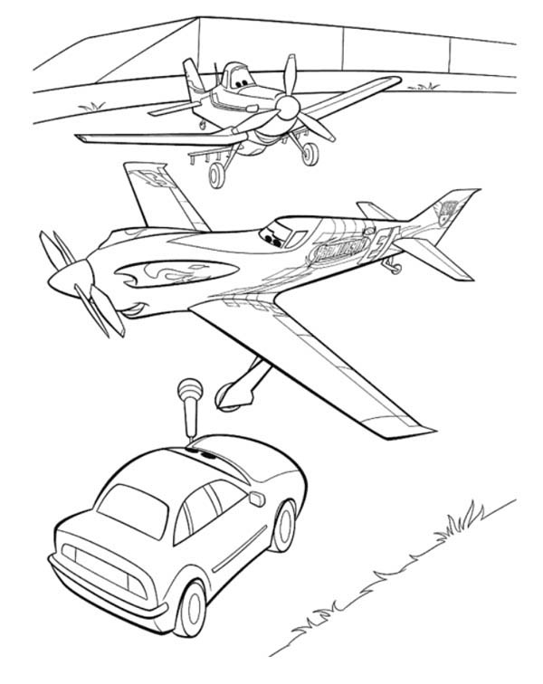 Disney Planes, : Ripslinger and Dusty on the Interview in Disney Planes Coloring Page