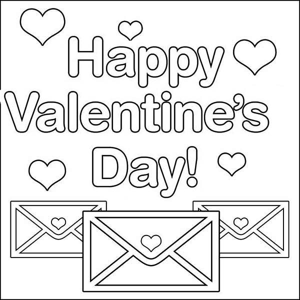 Valentine's Day, : Send Your Valentine's Day Message on Email Coloring Page