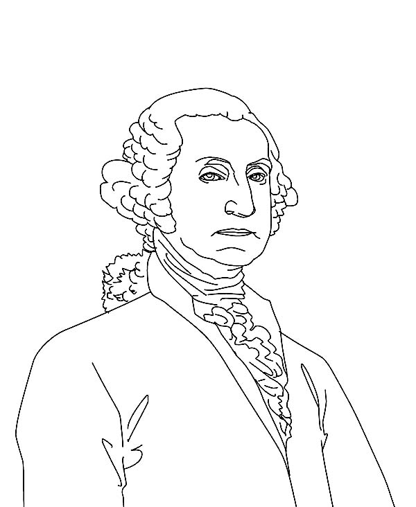 George Washington, : Sketch Drawing of George Washington Coloring Page