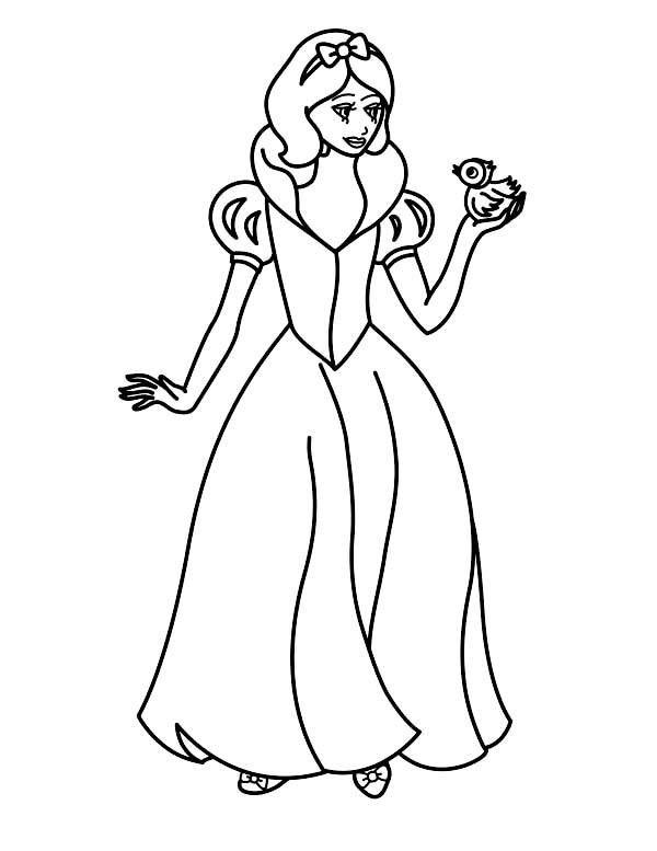 Disney Princesses, : Snow White Playing with Bird on Disney Princesses Coloring Page
