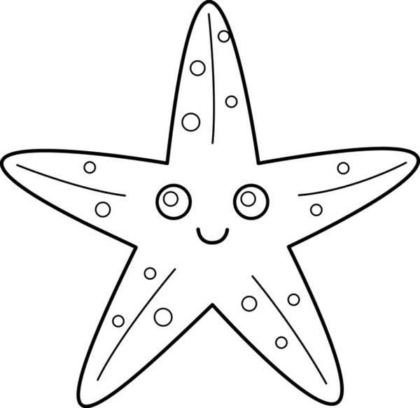 Starfish, : Starfish with Big Eye Coloring Page