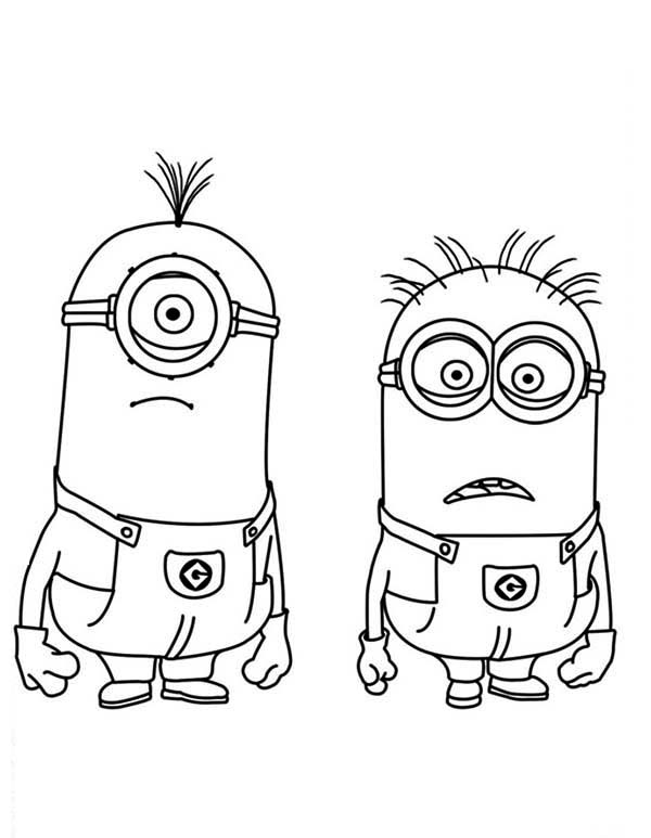 Minion, : Stuart and Jerry is Shocked The Minion Coloring Page