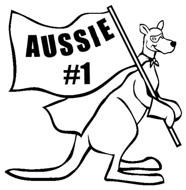 Australia Day, : Super Kangaroo Say Aussie is #1 on Australia Day Coloring Page