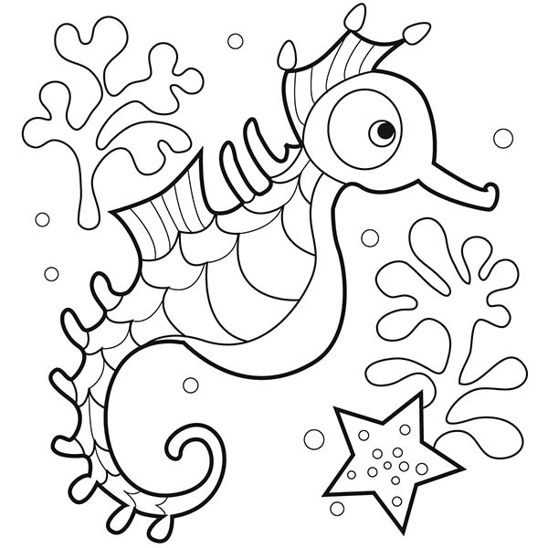 Seahorse, : Sweet Seahorse with a Big Rounded Eyes Coloring Page