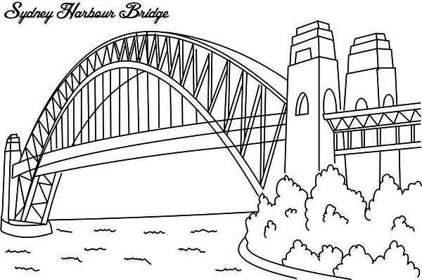 Australia Day, : Sydney Harbour Bridge, One of Australia Icon on Australia Day Coloring Page