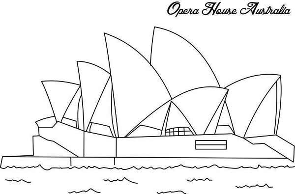 Australia Day, : The Famous Opera House in Sidney Ready for Australia Day Coloring Page