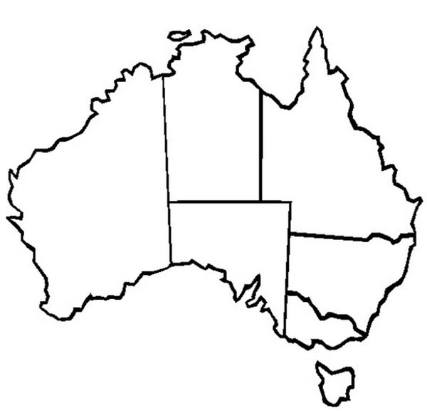 Australia Day, : The Map of Australia and Its States for Australia Day Coloring Page