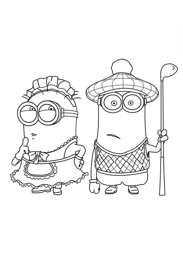 Minion, : The Mark Maid and Golfer Phil Minion Coloring Page