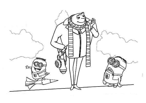 Minion, : The Minion and Gru are Testing the Rocket Coloring Page