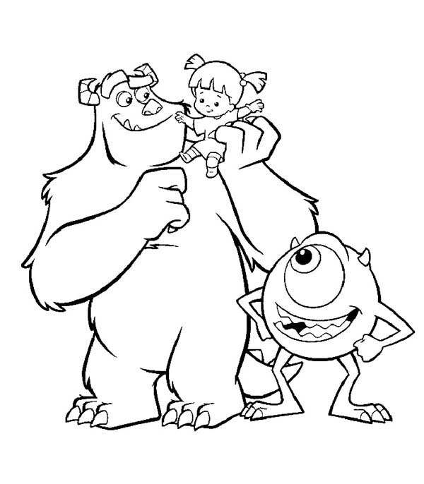 Monsters Inc, : The Three Companion in Monsters Inc Coloring Page