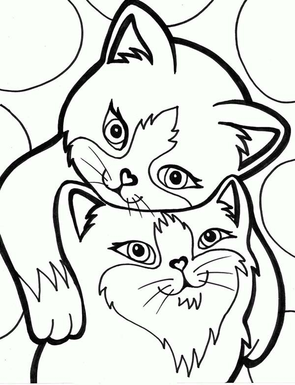 Kitty Cat, : These Two Kitty Cat are Loved Each Other Coloring Page