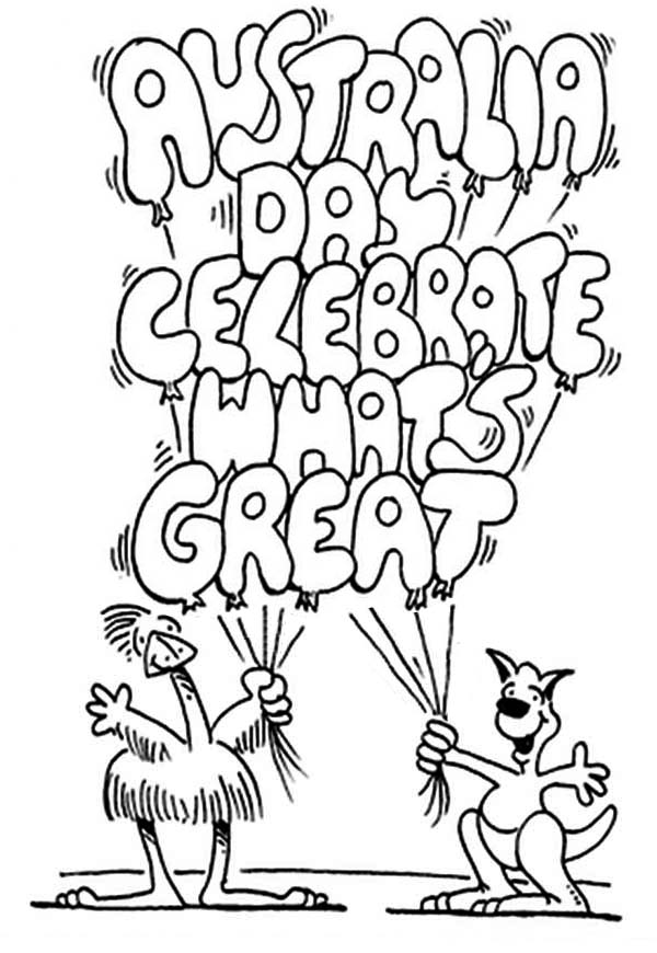 Australia Day, : These Two Pals Celebrating Australia Day Coloring Page