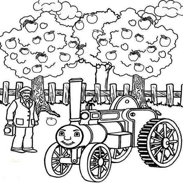 Apple Tree, : Thomas the Train and Apple Tree Coloring Page
