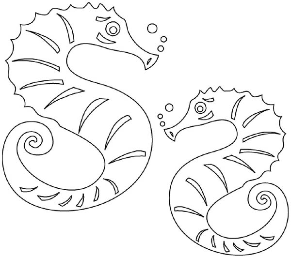 Seahorse, : Two Identical Seahorse in the Sea Coloring Page
