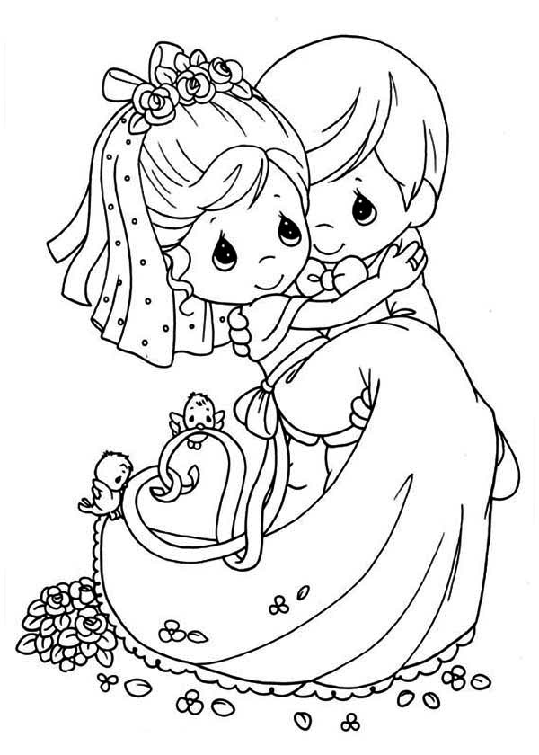 Precious Moments, : Wedding Precious Moments Coloring Page