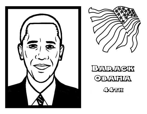 Barack Obama, : 44th The USA President Barack Obama Coloring Page