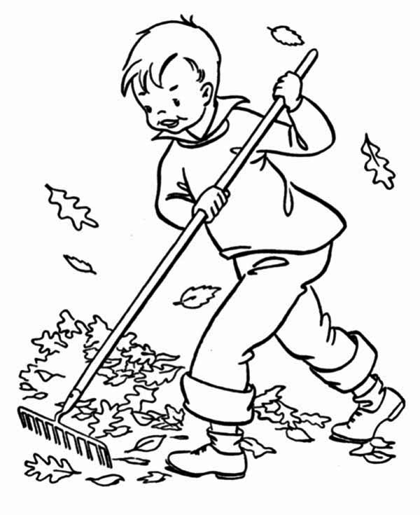 Fall Leaf, : A Boy Clean Up Fall Leaf Coloring Page