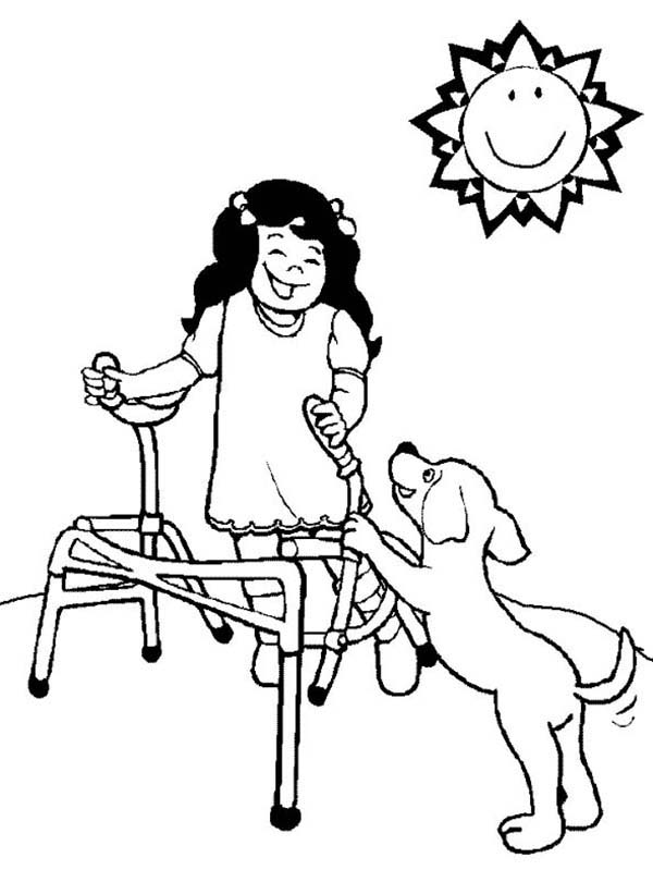 Disability, : A Girl with Disability Playing with Her Dog Coloring Page