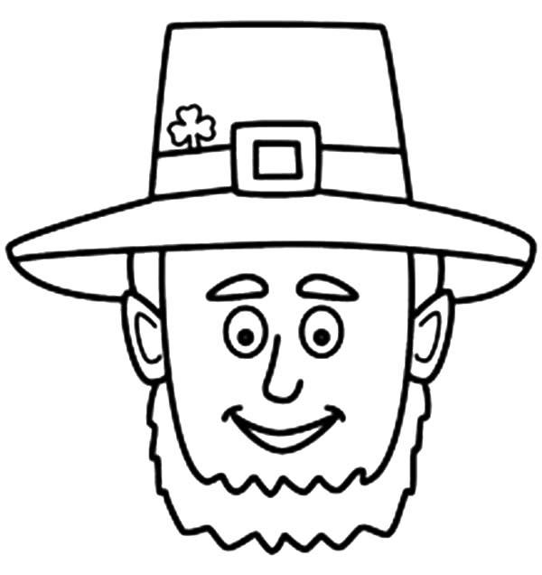 Leprechaun, : A Head Figure of Leprechaun Coloring Page